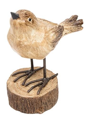 Kütükte Ayakta Kuş Obje-Warm Design